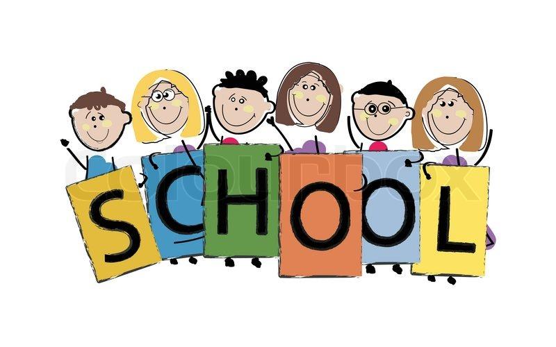 800x500 School Illustration With Kids Holding Cartoons Stock Vector