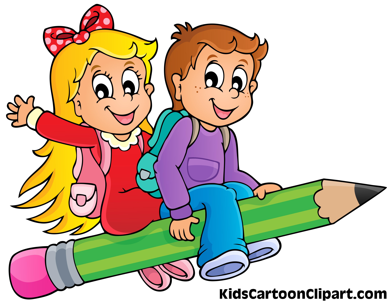 5132x3988 A Cute Boy And Girl Cartoon Flying On Pencil With School Bag
