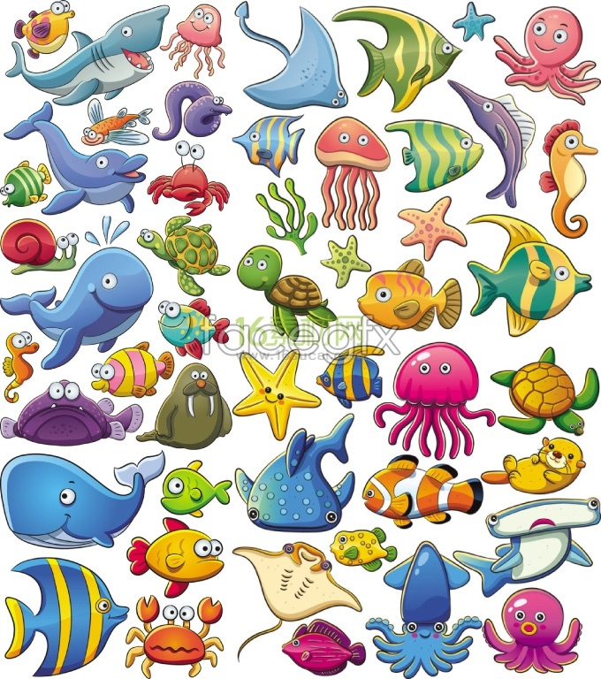 680x768 Cute Sea Animal Cartoon Vector College Cartoon