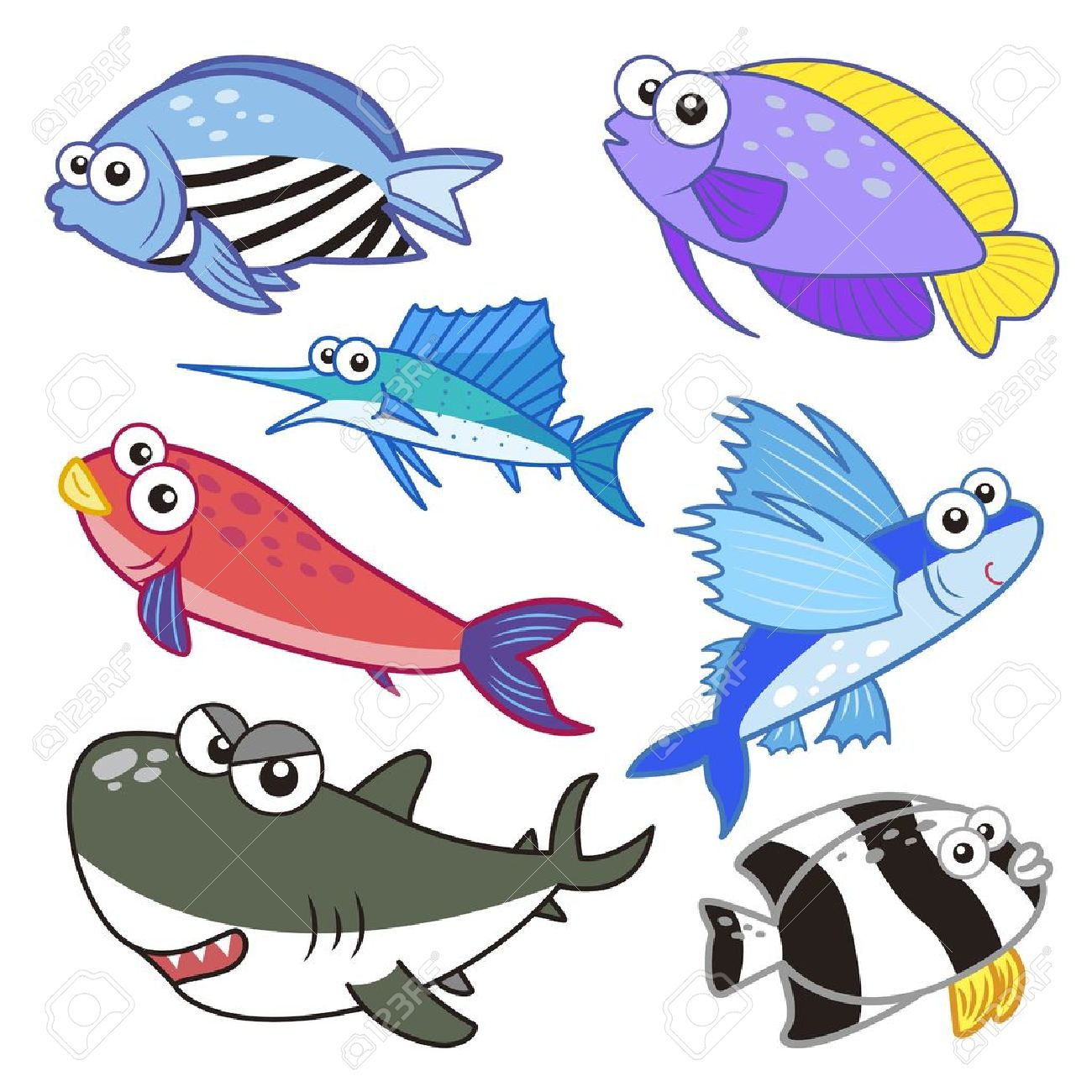 1300x1300 Cartoon Sea Animals Set With White Background Royalty Free