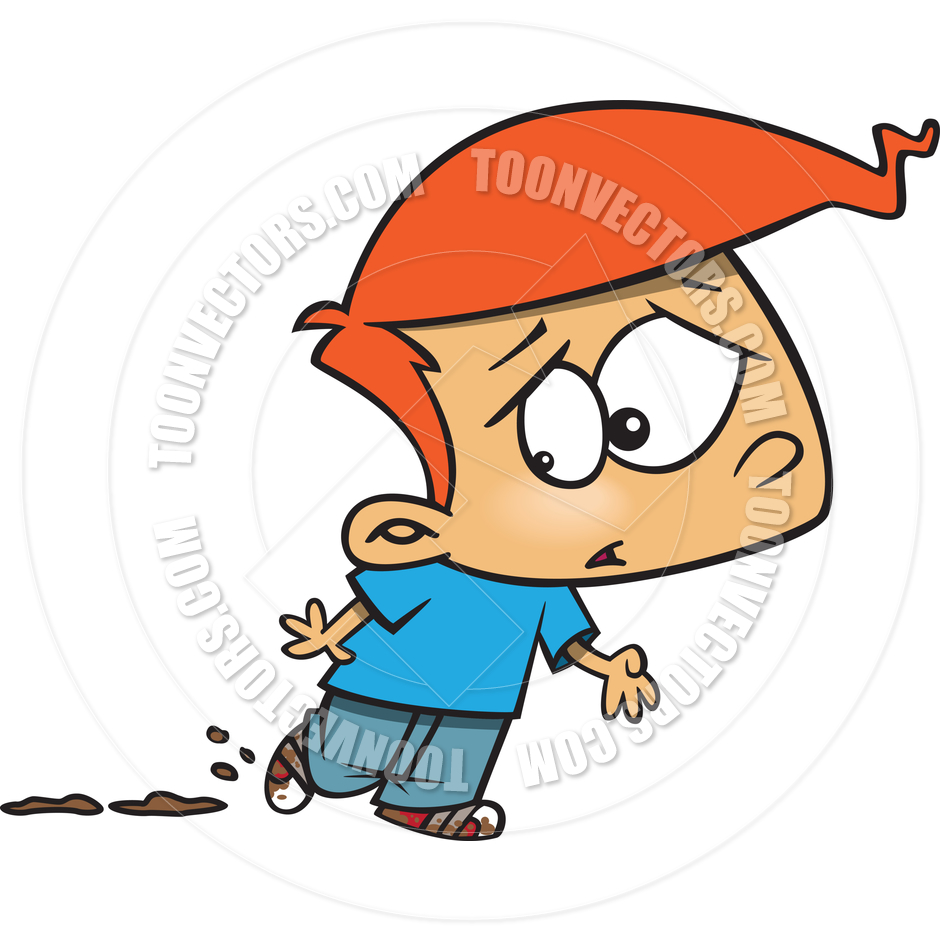 940x940 Cartoon Boy With Muddy Shoes By Ron Leishman Toon Vectors Eps