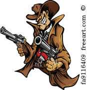 174x179 Free Art Print Of Cowboy Mascot Aiming Shotgun Vector. Graphic