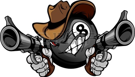 450x256 Graphic Mascot Image Of A Cowboy Shooting A Rifle Royalty Free