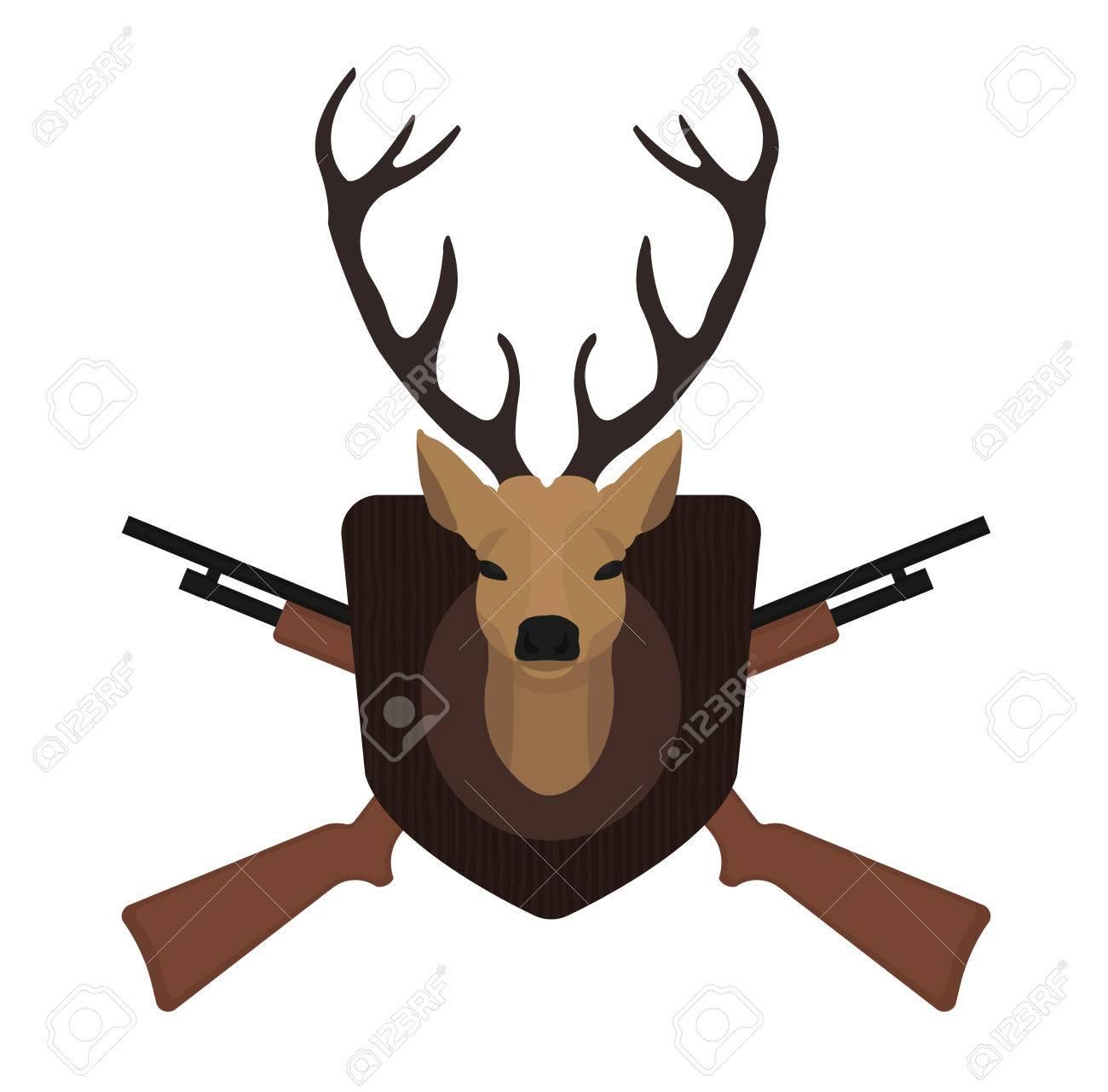 1300x1281 Hunting Trophy. Stuffed Taxidermy Deer Head With Big Antlers