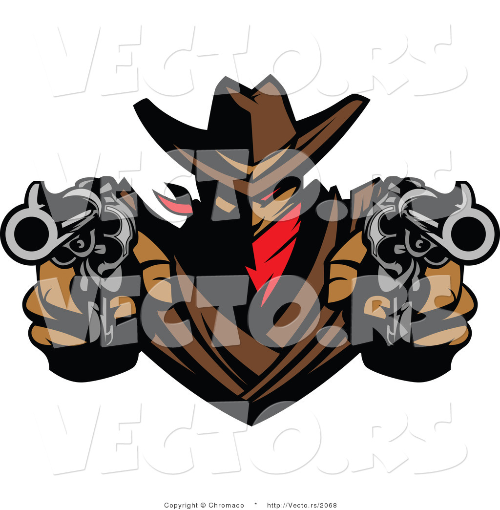 1024x1044 Vector Of A Cowboy Outlaw Pointing Two Loaded Hand Guns By