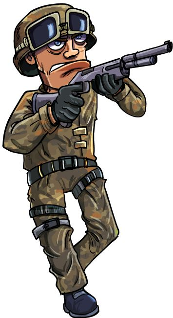 355x650 Cartoon Soldier With A Shotgun Character Design