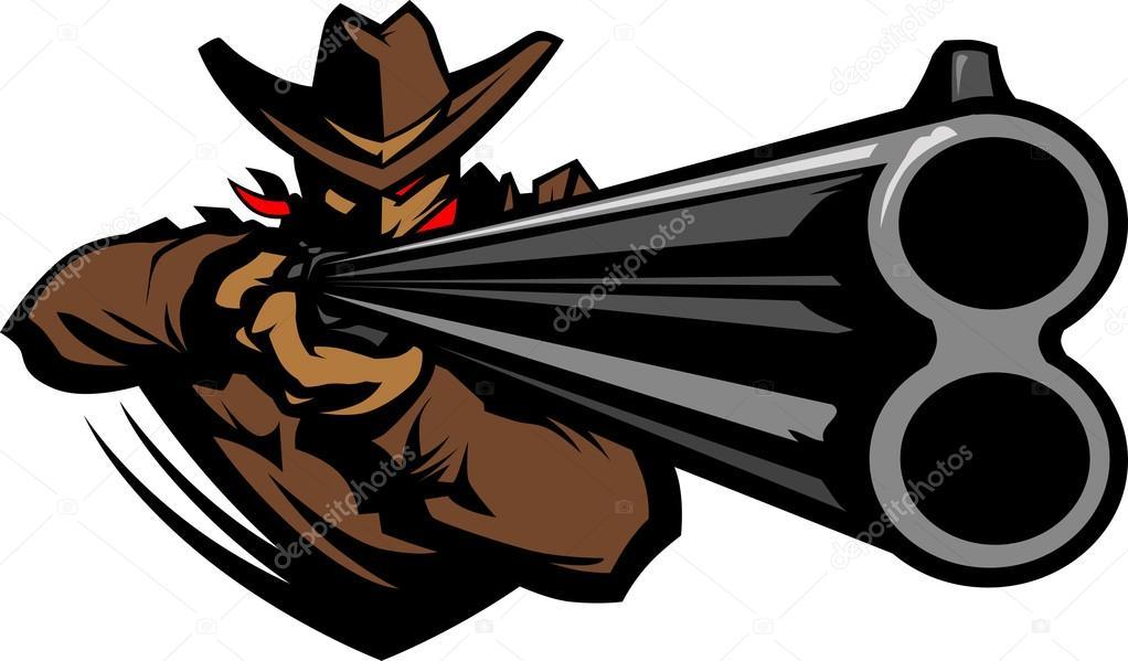 1022x599 Cowboy Mascot Aiming Shotgun Vector Illustration Stock Vector