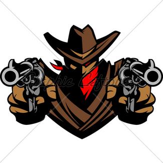 325x325 Cowboy Mascot Aiming Shotgun Vector Illustration Gl Stock Images