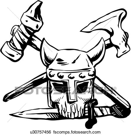 450x465 Clip Art Of , Ax, Skull, Viking, Weapon, Skull, Skull, Cartoons