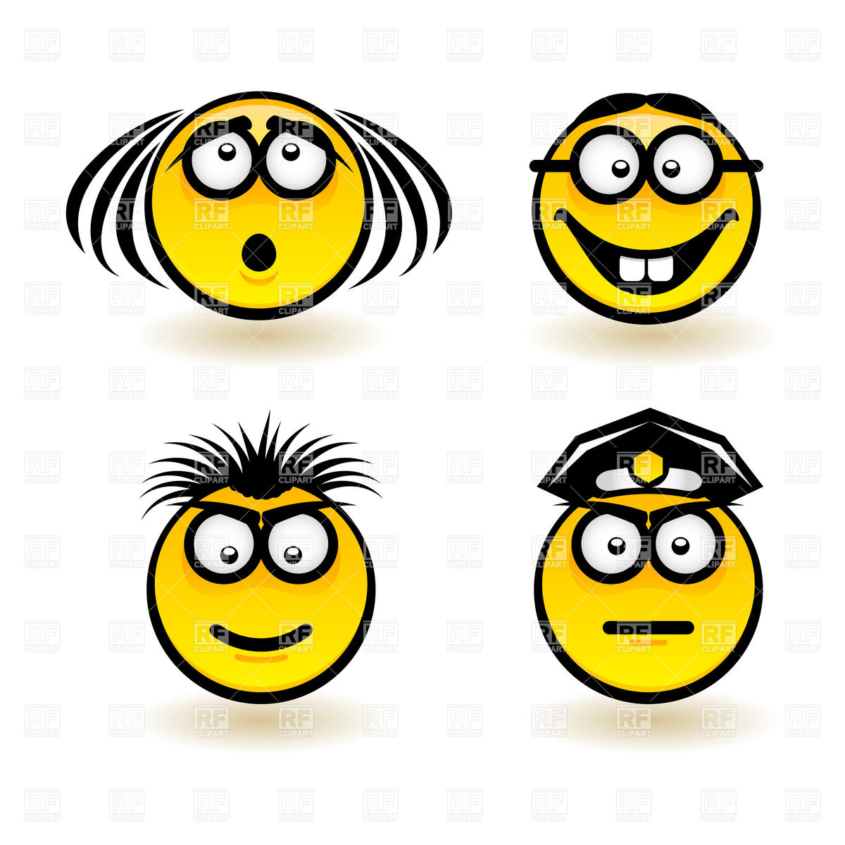 1200x1200 Cartoon Smiley Faces Set Royalty Free Vector Clip Art Image