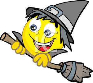 300x267 Cartoon Smiley Face Wearing A Witches Hat And Holding A Witches