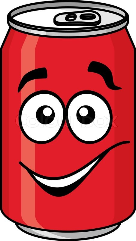 453x800 Red cartoon soda or soft drink can with a smiling face isolated on