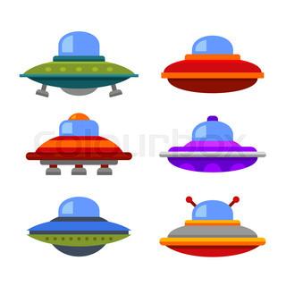 320x320 Cartoon Flying Saucer, Cartoon Spaceship And Cartoon Ufo Set