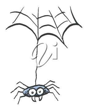 282x350 Picture Of A Cute Cartoon Spider Hanging From A Web In A Vector