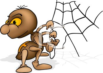 350x250 Royalty Free Clipart Image Cute Cartoon Spider Fixing His Broken Web