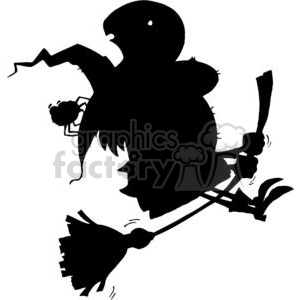 300x300 Royalty Free Cartoon Silhouette Witch And Spider Ride Broom 378077