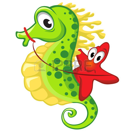 450x450 Cute Cartoon Starfish Riding On The Seahorse Royalty Free Cliparts