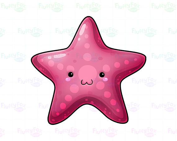 570x456 Kawaii Starfish Clipart Sea Life Marine Starfishes Undersea