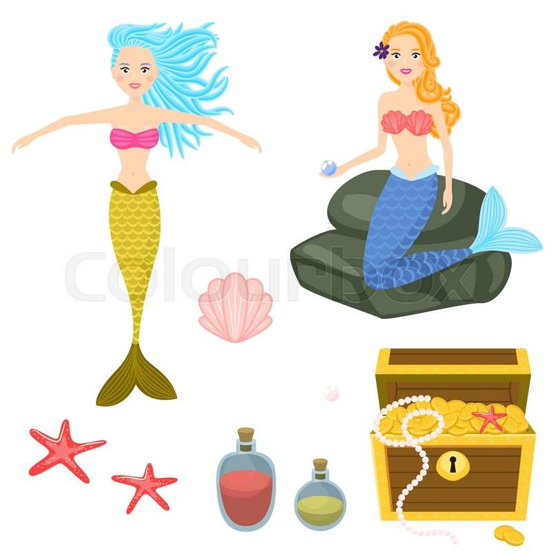 800x800 Cartoon Mermaids And Treasure Dower Chest Clip Art Vector Graphics