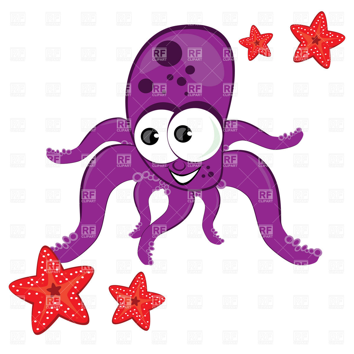 1200x1200 Cartoon Octopus With Starfish Royalty Free Vector Clip Art Image