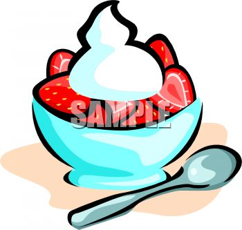 350x333 Royalty Free Clip Art Image Bowl Of Strawberries With Whipped Cream