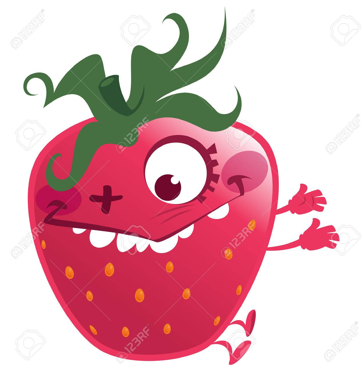 1270x1300 Cartoon Pink Red Strawberry Fruit Character Jumping Making