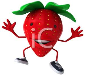 300x267 Cartoon Strawberry Cheering Clip Art Image