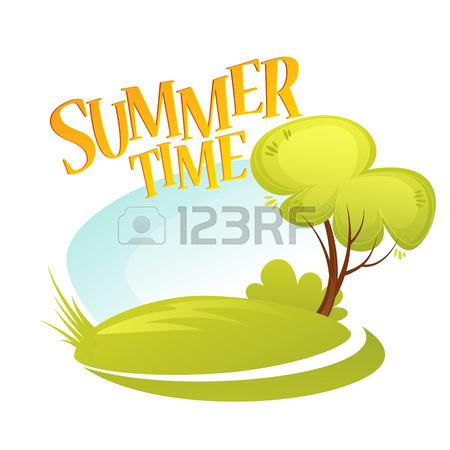 450x450 Cartoon Summer Landscape Background. Summer Tree. Vector