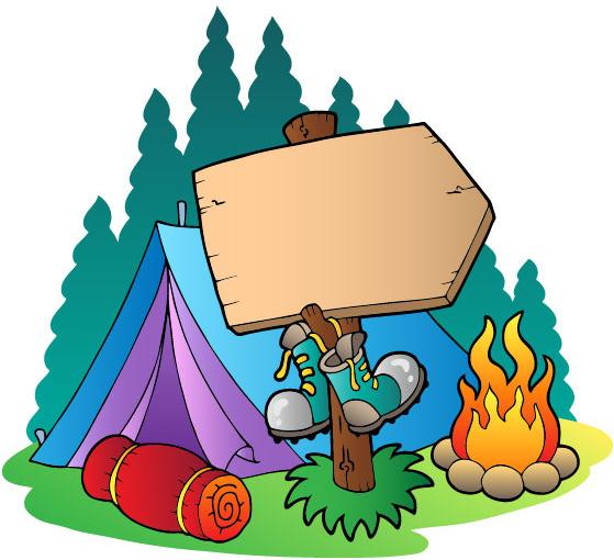559x510 Cartoon Summer Camp Elements Illustration Vector Free Vector