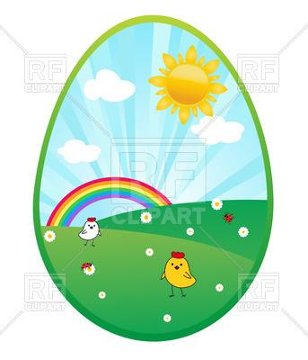 343x400 Cartoon Summer Landscape In An Egg Royalty Free Vector Clip Art
