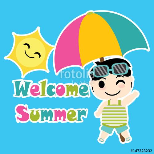 500x500 Cute Boy With Colorful Umbrella Beach Vector Cartoon, Summer