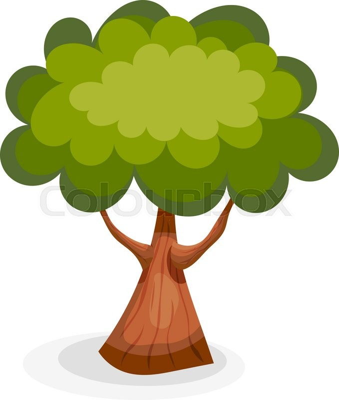 679x800 Green Summer Tree On A White Background. Cartoon Tree Isolate