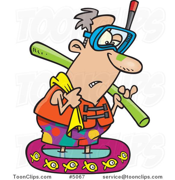 581x600 Cartoon Summer Guy Wading In A Kiddy Pool