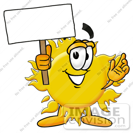 450x450 Clip Art Graphic Of A Yellow Sun Cartoon Character Holding A Blank