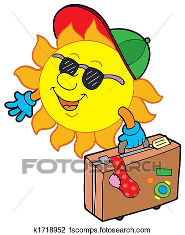 371x470 Clip Art Of Cartoon Sun Traveller K1718952