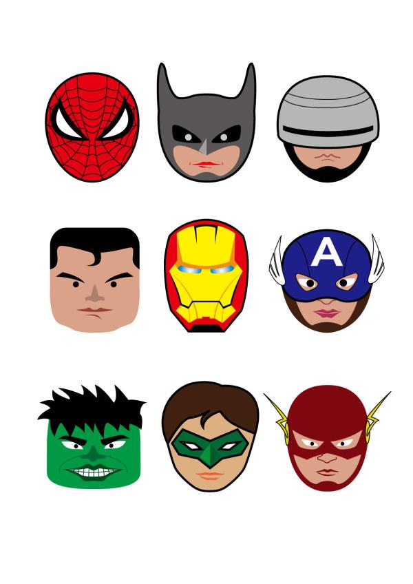 600x848 Cartoon Superheroes Head Portrait Vector
