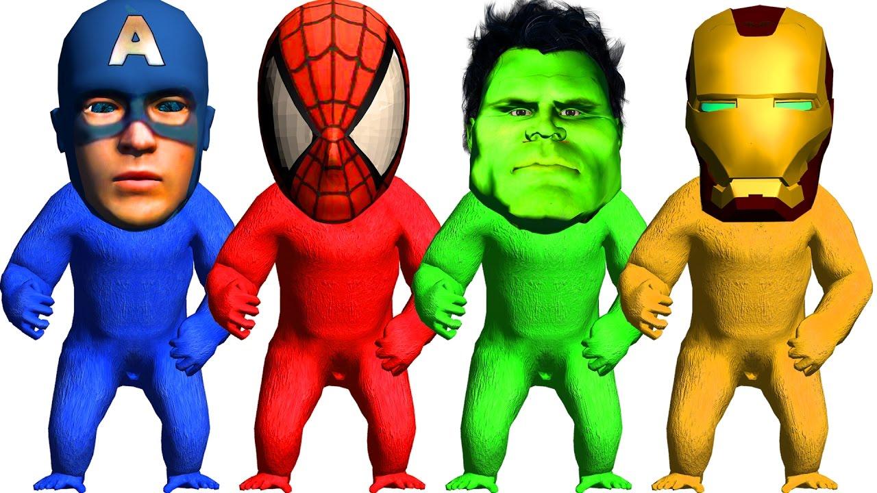 1280x720 Gorilla Superheros Face Spiderman Captain America Finger Family