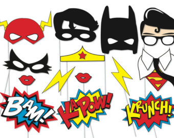 340x270 Superhero Photo booth Party Props Set