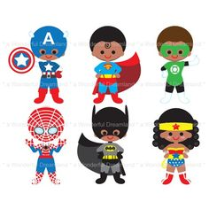 236x236 This Digital Clipart Set Including 6 Superheroes In Action. Each
