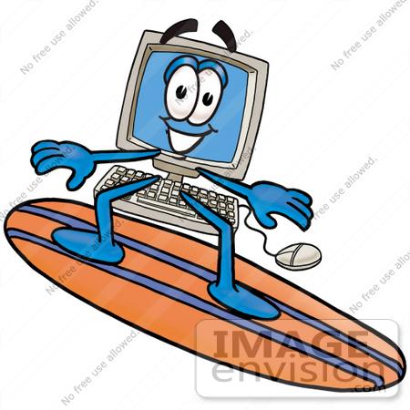 450x450 Clip Art Graphic Of A Desktop Computer Cartoon Character Surfing