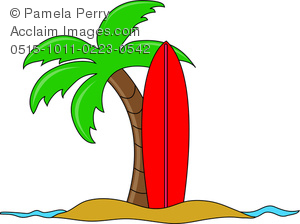 300x224 Clip Art Image Of A Cartoon Of A Surfboard Stuck In The Sand