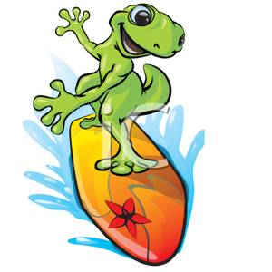 300x300 Gecko Surfing On A Surfboard Clip Art Image