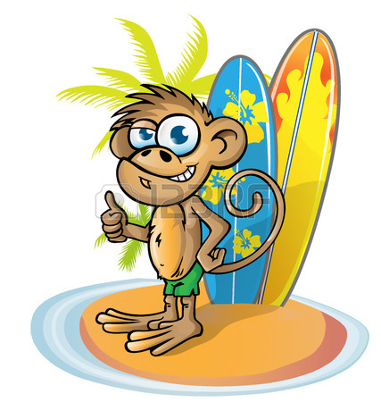 427x450 Monkey Surfer Cartoon On Island With Surfboard Royalty Free