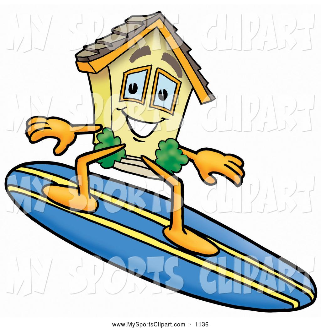 1024x1044 Sports Clip Art Of A Cute House Mascot Cartoon Character Surfing