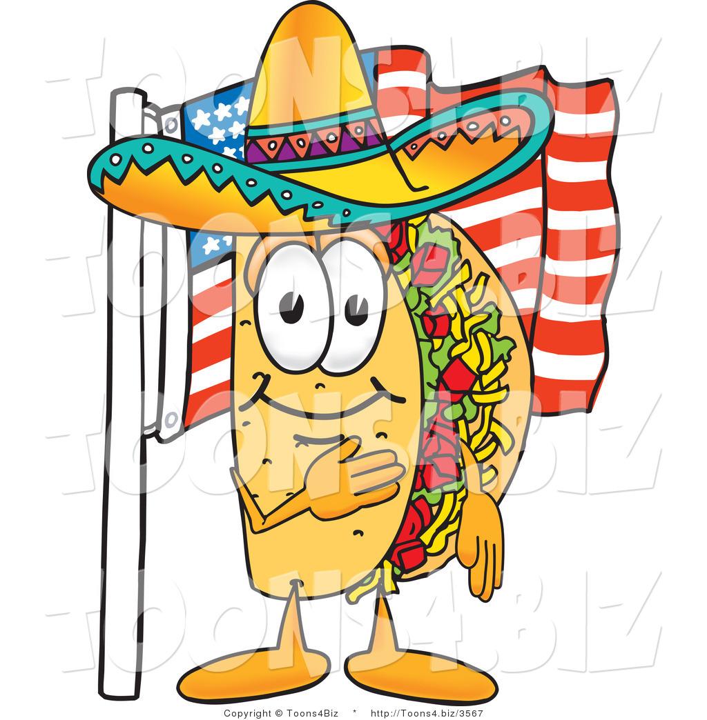 1024x1044 Vector Illustration Of A Cartoon Taco Mascot Pledging Allegiance