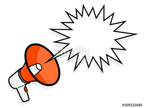 500x375 Cartoon Megaphone With Spiky Speech Bubble Stock Image
