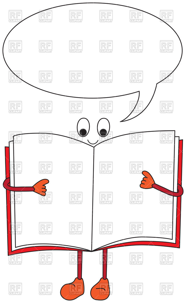 738x1200 Cartoon Open Books With Speech Bubble Royalty Free Vector Clip Art