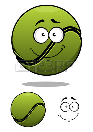 318x450 Green Spiteful Cartoon Tennis Ball With Evil Grin And Motion