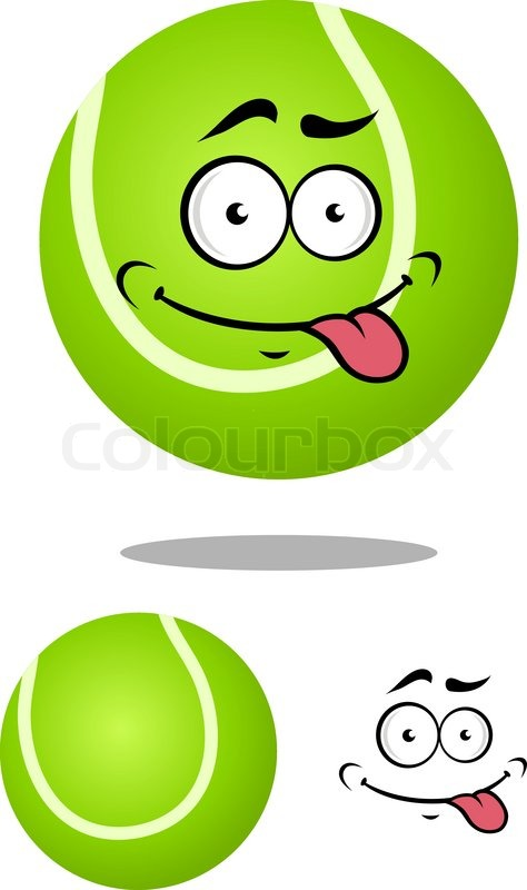 474x800 Green Cartoon Tennis Ball With Smiling Face And Tongue Out