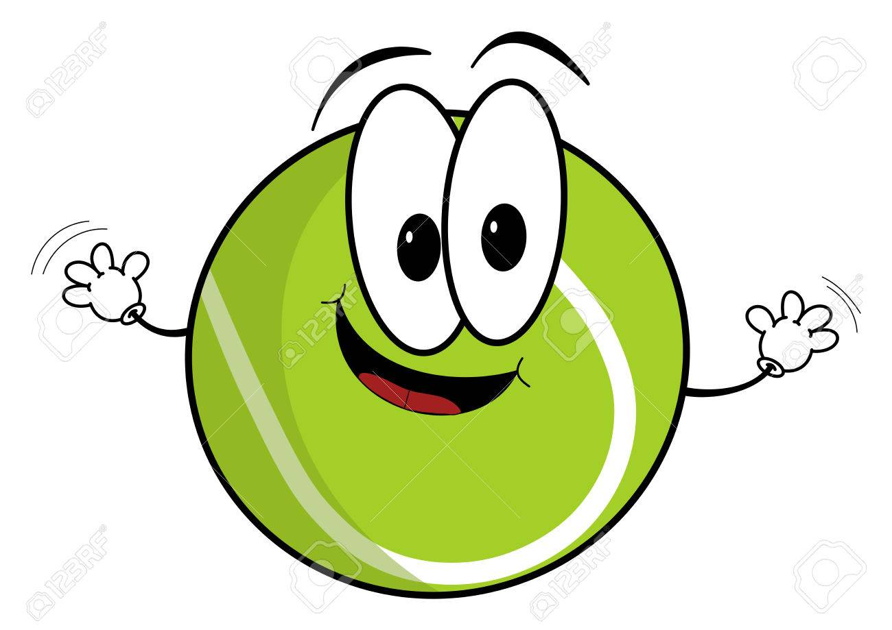 1300x919 Illustration Of A Happy Cartoon Tennis Ball Character Waving